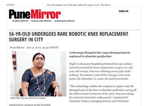 56 yr old undergoes rare robotic knee-replacement surgery in city Pune Mirror
