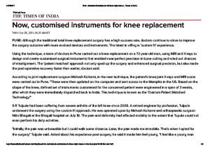 Now, customised instruments for knee replacement Times of India